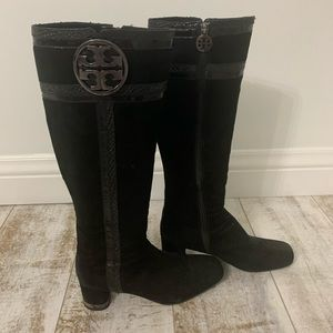 Tory Burch Suede Snake Skin Boots 9